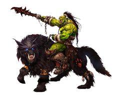 Worg Rider Orc - Pathfinder PFRPG DND D&D d20 fantasy