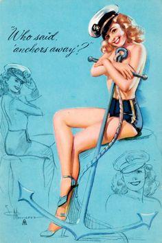 Vintage pin up sailor poster
