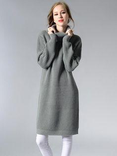8a5ec3ea83b Vinfemass Solid Color Loose High Neck Knit Sweater Dress
