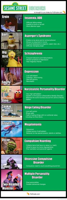 Sesame Street Disorders - Funny, Infographics, Movies and Television - Fo'Drizzle