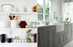 They grey cabinets, cabinet faces, marble counter, farmhouse sink, and bright white/light. Love it all. --MH
