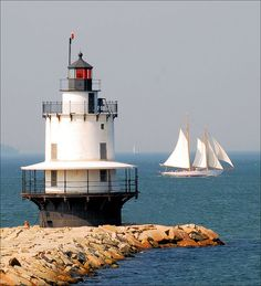 South Portland Lighthouse, Maine Spring Point Head Light-Southern Maine Community College campus Fort Preble