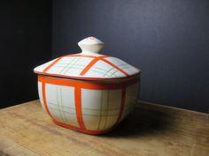 Art Deco Covered Dish Bowl Square Orange White by NewOxfordVintage