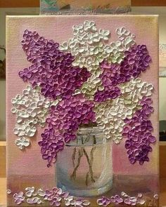 Purple and white lilac in an Original glass bowl- Púrpura y blanco lila en un recipiente de vidrio Original Purple and white lilac in an Original glass bowl – - Sculpture Painting, Painting & Drawing, Knife Painting, Art Et Illustration, Diy Canvas Art, Texture Painting, Texture Drawing, Oil Painting Flowers, Acrylic Art
