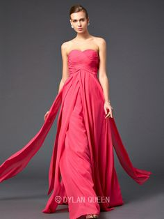 A-Line/Princess Sweetheart Chiffon Pleats Floor-Length Long Prom Dress