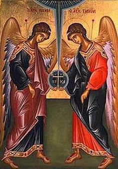 Synaxis of the Archangels Michael and Gabriel byzantine icon