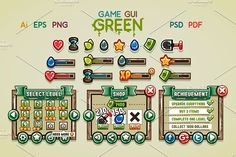 Game GUI Green by yurakr on @creativemarket