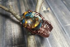 Size 9, Aqua Sea Sediment Jasper and Bronzite Semi Precious Stone Ring Wrapped in Copper Wire, Metaphysical Jewelry by TheeEnchantedChest on Etsy https://www.etsy.com/listing/492574337/size-9-aqua-sea-sediment-jasper-and
