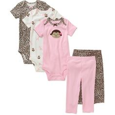 Child of Mine by Carters Newborn Girls' 5 Piece Essential Creeper and Pant Set: Baby Clothing : Walmart.com