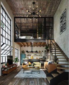 Idées pour les Baies vitrées en mezzanine Tiny House, Loft House, Loft Design, House Design, Loft Industrial, Casa Loft, Home Upgrades, Amazing Spaces, Interiores Design