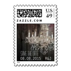 vintage barnwood purple chandelier wedding stamps. This great stamp design is available for customization or ready to buy as is. Of course, it can be sent through standard U.S. Mail. Just click the image to make your own!