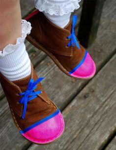 DIY neon-tipped shoes via Handmade Charlotte http://www.handmadecharlotte.com/diy-backtoschool-fashion-kids/#