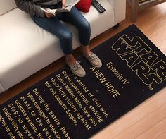 "Tie your room together with some geeky flair by laying out this ""A New Hope"" title crawl floor runner. This officially-licensed piece displays the exact opening crawl text that appears at the start of the iconic Episode IV film."