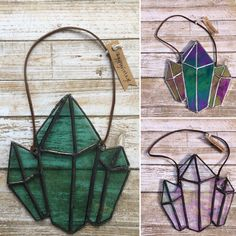 Stained glass Crystal Cluster by Thegypsyvintageshop on Etsy