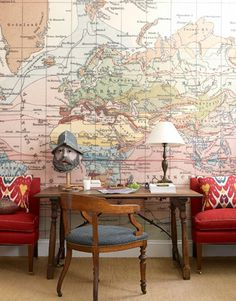 map wallpaper, desk, chairs. With my love of travel, LOVE these map murals/wallpaper