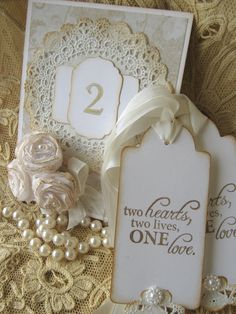 Lace Wedding Wish Table Number Tags