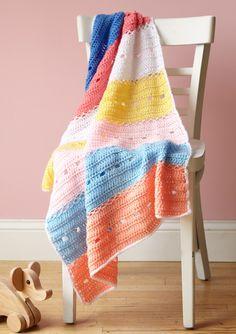 Rainbow Panels Baby Throw Pattern (Crochet)