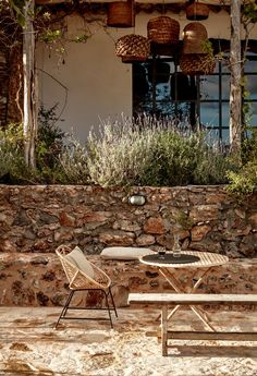 Hotel with a History: A Landscape of Sun and Stone at La Granja Ibiza Travelers don't head to Ibiza to spend time indoors. At La Granja Ibiza, the island's newest boutique hotel, the landscape does not disappoint. Two acres o Banco Exterior, Exterior Design, Outside Living, Outdoor Living, Hotel Ibiza, Garden Design, House Design, Terrace Design, Villa Design