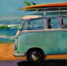 VW bus painting. Surf culture classic.