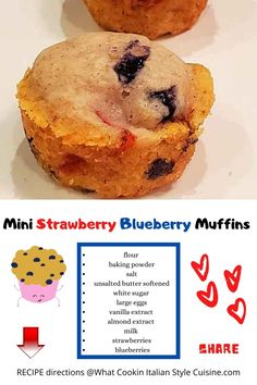 a mini muffin perfect for camping trips, a little bite with coffee and snacking. Strawberry Muffins, Strawberry Blueberry, Blue Berry Muffins, Diet Snacks, Quick Snacks, Desserts For A Crowd, Easy Desserts, Delicious Recipes, Tasty