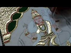 Tanjore Paintings in Telugu//Colouring process 3 Tanjore Painting, Outline Drawings, Colouring Techniques, Drawing For Kids, Telugu, Murals, Om, Crafts For Kids, Scenery
