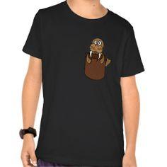 Funny Walrus in a Pocket Cartoon Tshirts #walrus #shirts #funny #pocket #animals And www.zazzle.com/naturesmiles*
