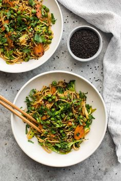 An easy vegetable lo mein that uses broccoli, carrots, and peas for a hearty vegetarian noodle bowl. This lo mein can easily be adapted for any season!