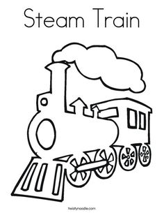 Railroad Amazing Steam Train on Railroad Coloring Page