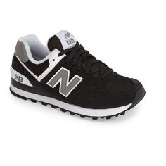 New Balance '574 Classic' Sneaker ($60) ❤ liked on Polyvore featuring shoes, sneakers, leather lace up sneakers, new balance trainers, laced up shoes, lace up sneakers and new balance
