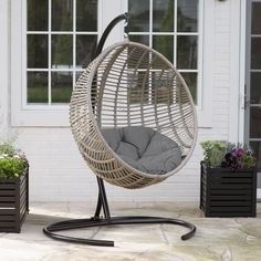 Island Bay Resin Wicker Kambree Rib Hanging Egg Chair with Cushion and Stand | from hayneedle.com