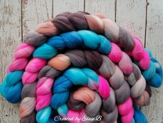 Targhee 'Hello Gorgeous' 4 oz spinning fiber, hand dyed roving, wool roving by the pound, combed top, Blue, Neon Pink, Black, Grey, Peach by CreatedbyElsieB on Etsy https://www.etsy.com/listing/466455427/targhee-hello-gorgeous-4-oz-spinning