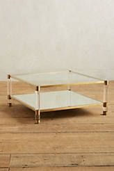 Slide View: 1: Oscarine Lucite Mirrored Coffee Table, Square