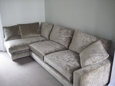 Bespoke Freycinet made up of a left hand facing chaise (bespoke size 160 cm with the arm replaced by a full length back to create an armless sofa section and added an extra back cushion/boster) plus a right hand arm grand sofa section (standard size 219 cm). These are bracketed together and covered in J Brown Modena Latte 13118.
