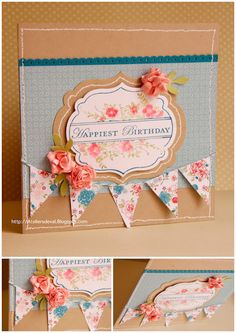 Lovely card inspiration... gorgeous color combination, and love the coordinating floral label and penants #Stampin' Up! #SU
