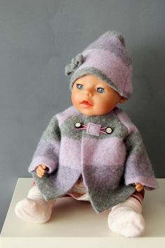 Nähanleitung Puppenkleidung, Puppenjacke aus altem Wollpullover nähen, Anleitung Mantel für Puppe nähen, Puppenmantel selber nähen, Schnittmuster Puppenjacke