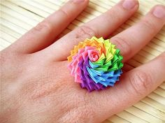 This ring looks to me like a flower. I found the image online so you will have to find the directions on the internet somewhere, or if your friends know how. I think you are supposed to use duct tape but I don't know for sure