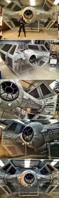 It took an army of hobbyists two years to complete, but the 1:2 scale Tie Fighter recently unveiled in Eichenzell, Germany, is a true DIY masterpiece. 20 Star Wars fans of different professions, from financial brokers to policemen and architects, put their blood and tears into this 5.30 m wide, 4.80 m long, 4.30 m high and 1.4 tons heavy model of the Galactic Empire's starfighter.