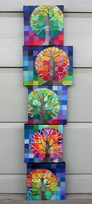 inspiration... oil pastels color in the grid, but not the tree branches; use an embossing tool to scratch off & texture each square diagonally; wash the whole thing with brown watercolor a few times; Color the grids in the tree with acrylic; Finish the piece with spray matte picture varnish.