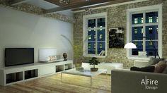 Téléviseur et cheminee-ethanol-intelligente-loft http://www.a-fireplace.com/fr/cheminee-ethanol/
