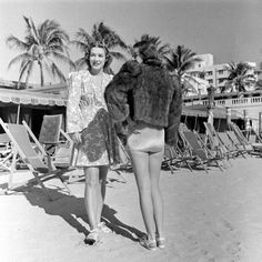 Miami South Beach Fashion| Serafini Amelia| Miami Beach Fashion 1940. Luxurious  fur coat paired with swimwear