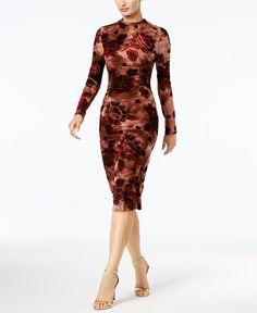 Endless Rose Velvet-Flocked Printed Midi Dress - Dresses - Women - Macy's