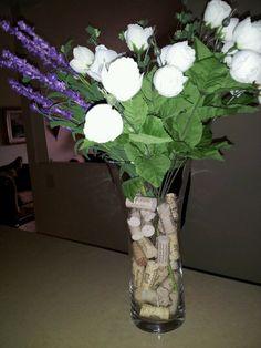 Wine cork flower decor