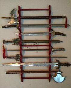 Nice sword collection on display.