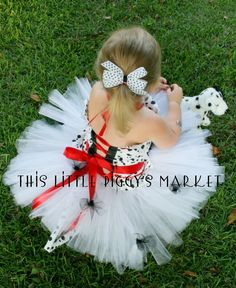 101 Dalmatian Dog Puppy Tutu and Corset Halloween Costume or Christmas Gift 18M 2T 3T 4T 5 6 7 8. $58.00, via Etsy.