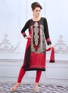 Multicolored Georgette Churidar Suit