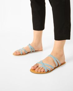 AJIO Blue Synthetic Criss-Cross Flat Chappals #Blue#Synthetic#Slipon#Flasts