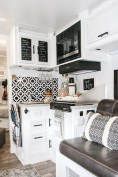 """Our RV Renovation Today is the day. I'm sharing all the amazing """"before"""" and """"after"""" pictures from our latest camper project! We started with a 16 foot vintage camper and have slowly upgraded as Rv Campers, Camper Trailers, Camper Life, Rv Life, Teardrop Campers, Teardrop Trailer, Travel Trailers, Travel Trailer Remodel, Camper Renovation"""