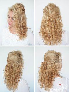 Hair Romance - Easy half up braid tutorial in curly hair 4 | Curly ...