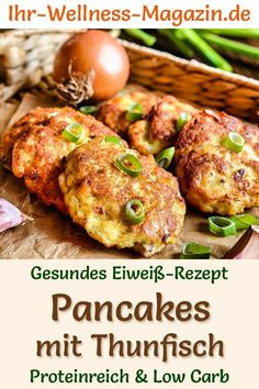 Protein pancakes with tuna: Hearty low-carb recipe for healthy, protein-rich pancakes; delicious as lunch or dinner. Low calorie and low fat, ideal for losing weight, as a protein diet meal, for athletes as a fitness recipe … # protein recipes diet Low Carb Protein, Healthy Protein, Protein Foods, High Protein, Fish Recipes, Low Carb Recipes, Healthy Recipes, Protein Recipes, Low Carb Pancakes