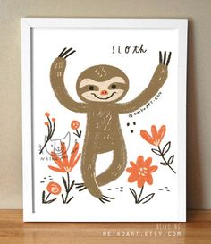 an adorable sloth print for your wall